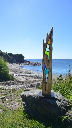 Solis-Stained Lead Glass Wood Sculpture