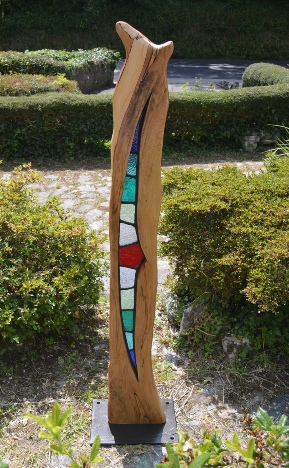 Solis--Stained Glass & Wood Art Sculpture