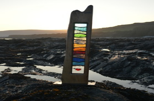 -Stained Glass & Wood Art Sculpture